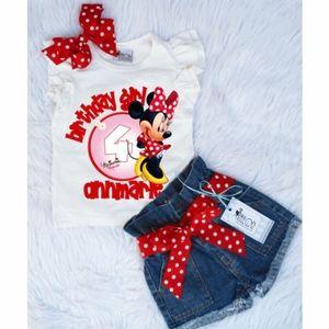 Minnie mouse Custom birthday denim short set